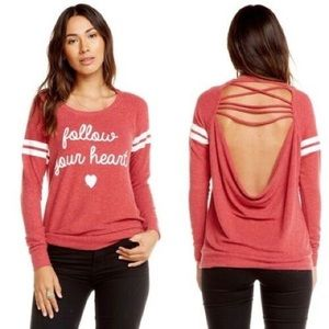 Chaser Follow Your Heart Sweatshirt Open Back Top